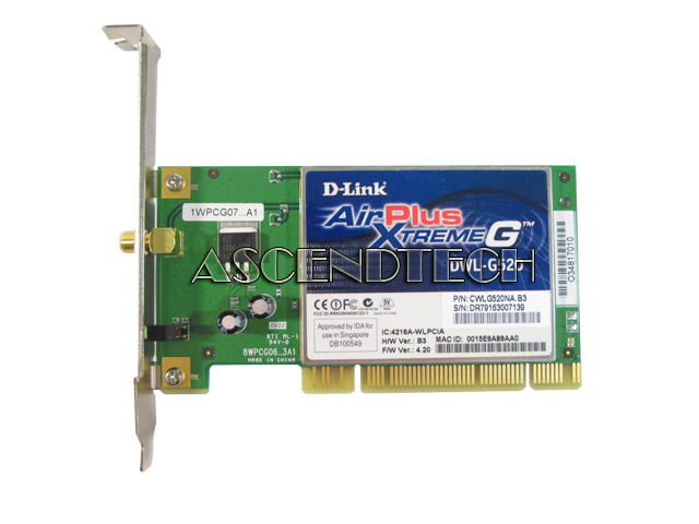 D LINK AIRPLUS XTREMEG DWL 520 DRIVER FOR WINDOWS